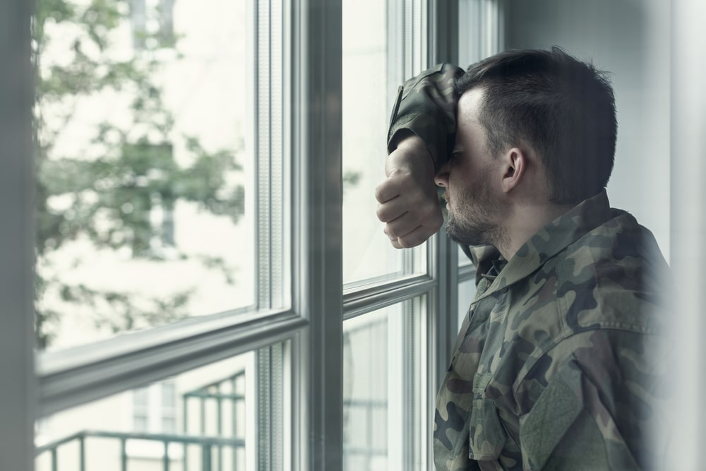 Depressed Soldier With PTSD